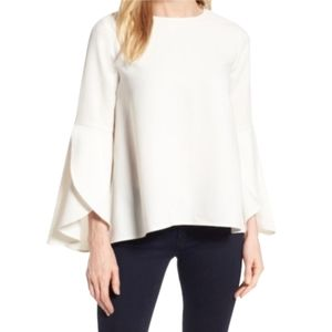 Halogen| Blouse Ivory 3/4 Bell Sleeves